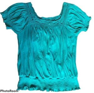Allison Brittney Blue/Green Elastic Top Large
